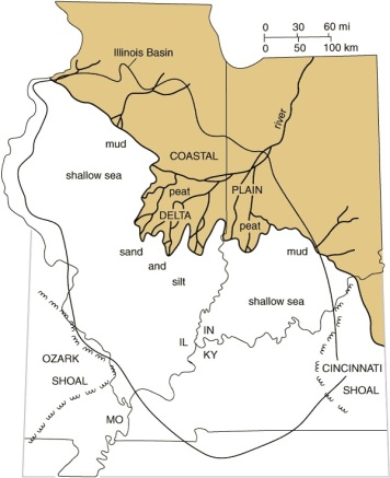 Paleogeography of the Illinois-Indiana region during Pennsylvanian time. The diagram shows a Pennsylvanian river delta and the position of the shoreline and the sea at an instant of time during the Pennsylvanian Period.   Illinois State Geological Survey.